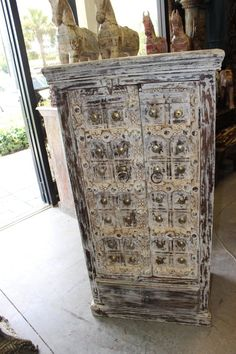 Indian Antique Hand Carved Wooden Cabinet with front 2 door two shelves for plenty of storage, this is the perfect piece for your bedroom. unique style and design to your home interior.beautiful and amazing cabinet. Rustic Wood Cabinets, Antique Cabinets, Antique Doors, Farmhouse Living Room Furniture, Eclectic Furniture, Country Furniture, Custom Furniture, Bedroom Furniture, Farmhouse Decor