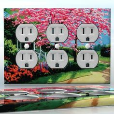 DIY Do It Yourself Home Decor - Easy to apply wall plate wraps | White Gazebo in Pink Caressing  Cherry trees in a garden  wallplate skin sticker for 3 Gang Wall Socket Duplex Receptacle | On SALE now only $5.95