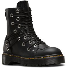 Dr. Martens Leather Daria Boots ($165) ❤ liked on Polyvore featuring shoes, boots, black, black boots, dr martens boots, black leather shoes, genuine leather boots and black leather boots