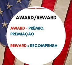 Award x Reward Spanish Grammar, English Vocabulary, English Grammar, Teaching English, English Language, English Time, English Study, Learn English, Portuguese Lessons