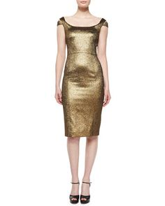 Metallic Off-The-Shoulder Sheath Dress, Gold by Michael Kors Collection at Neiman Marcus.