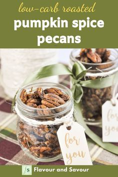 Low-carb Keto spiced nuts! Serve these Pumpkin Spice Pecans as a healthy snack, as part of a cheese board, or as a topping for salads. Quick and easy. Monkfruit sweetener. #keto #partynuts