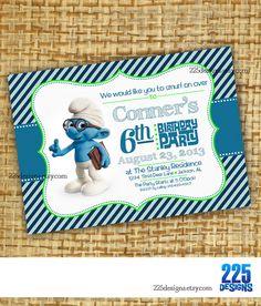 brainy smurf birthday invitation  boys  smurfs by 225designs, $15.00