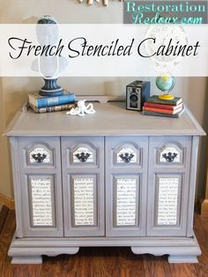 French Stenciled TV Console - Daily Dose of Style Furniture Projects, Furniture Making, Furniture Makeover, Diy Furniture, Rustic Furniture, Antique Furniture, Repurposed Furniture, Painted Furniture, Ideas Dormitorios