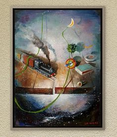Surrealism at its best edition in Dreamland. Children toys remind to us the years of our innocence. Oil on canvas. Children Toys, Surreal Art, Childhood Memories, Surrealism, Oil On Canvas, Original Paintings, Amazon, Board, Handmade Gifts