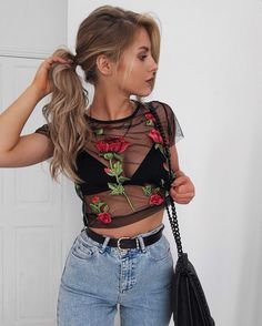 Here's how to recreate this mesh and embroidered concert outfit!