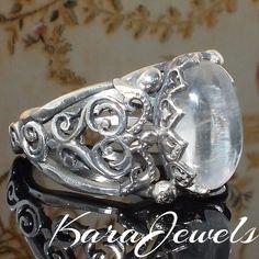 925 Sterling Silver Men's Ring with Dhur al-Najaf Durre Najaf Crystal Quartz #KaraJewels #Handmade