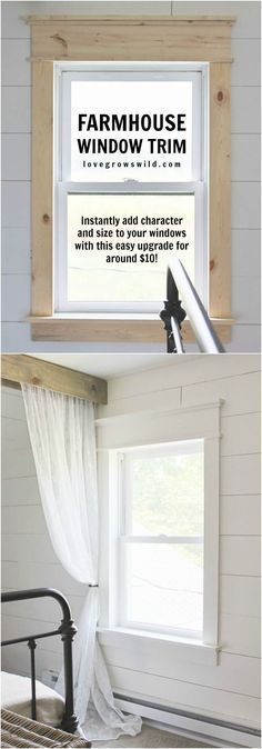 Simple window trim suits many architectural styles spanning hundreds of years. Combined with horizontal wall cladding or bead board paneling with plaster above. Suitable for farmhouse style house, servants quarters or attic in more formal house.
