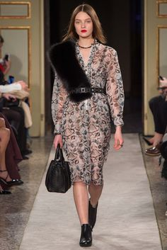 """Jason Wu, Phillip Lim, and here, Tod's, all have this tucked fur sash look in their A/W 15 RTW Collections."" Tod's Fall 2015 RTW Collection - Style.com. Long live fashion: LÜR Nail presents the best designer runway looks of the Milan Autumn/Winter 2015 Collections."