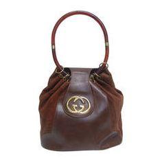 Gucci Italy Rare Brown Leather & Suede Handbag c 1970