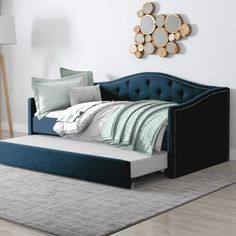 CorLiving Fairfield Dark Grey Tufted Leatherette Twin/Single Day Bed with Trundle - The Home Depot Daybed In Living Room, Daybed Room, Twin Daybed With Trundle, Twin Bunk Beds, Guest Room Office, Guest Room Decor, Single Day Bed, Single Bedroom, Sala Vintage