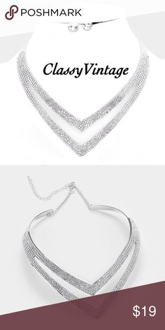 "Elegant crystal pave' V-shaped metal necklace Gorgeous V-shaped double layer collar. 18"" long with a 3"" extender. Each decor size is 1.5 inches and matching earrings are .3 inches long. Rhodium boutique Jewelry Necklaces"