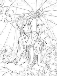 Lost You Forever Chinese Coloring Book Cute Coloring Pages, Adult Coloring Pages, Coloring Books, Anime Art Girl, Manga Art, Classic Portraits, Doodle Art, Dragons, Painting