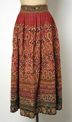 India, chain stitch embroidery and mirrors skirt, 20th c