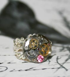 Vintage Steampunk Ring - Handmade Ring Antique Watch Movement Parts, Altered Art