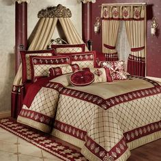 Luxury Bedding Sets For Less Product Bedroom Red, Modern Bedroom, Bedroom Decor, Master Bedroom, Floral Comforter, Comforter Sets, King Comforter, Simple Bedroom Design, Bedroom Designs