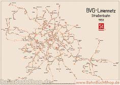 Gleisplan und Liniennetz Berliner Straßenbahn 1951 - BahnBuchSh