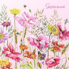 Roze felicitatiekaart met gekleurde bloemen- Greetz