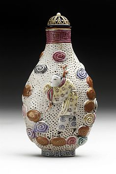 Snuff Bottle (Biyanhu) with Two Boys, China, Late Qing dynasty, about 1800-1911, Molded soft-paste porcelain with overglaze enamel and gilt decoration