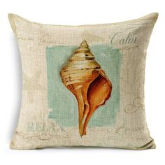 Conch Painting Pattern Square Shape Pillow Case(Without Pillow Inner)
