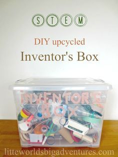 Upcycled Inventor's Box, a DIY STEM Activity - Little Worlds - - Read here how you can easily set up your own inventor's box from recycled materials and get some great play ideas for hours of fun with the inventor's box! Stem Science, Preschool Science, Teaching Science, Science For Kids, Preschool Ideas, Science Centers, Summer Science, Science Chemistry, Physical Science