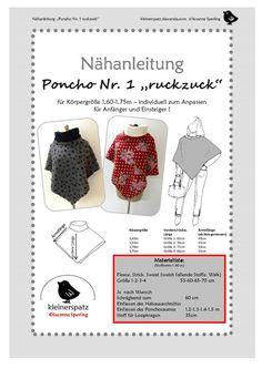 """ebook und Nähanleitung Poncho """"ruckzuck"""" von kleinerspatz auf DaWanda.com"""