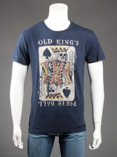 Lucky Brand® Mens Kings Poker Hall T-Shirt in Navy.  Hang out  with the guys in casual style while wearing this cool graphic t-shirt in  navy. It's the perfect shirt to wear with jeans and sneakers.Features a  large graphic design of a playing card on the front, short sleeves, and  a slim fit throughout.