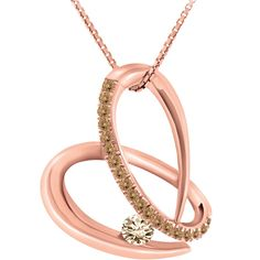 0.22 Carat TW, 10k Rose Gold Colour Couture Heart Pendant with Chain featuring Cashmere and Satin Diamonds