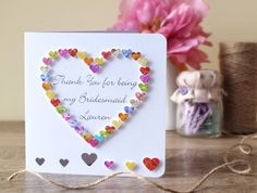 Handmade 3D 'Thank You for Being my Bridesmaid' Card - Personalised Thankyou, Maid of Honour, Thankyou Best Man Card, Wedding Gift BHE10b by CardsbyGaynor on Etsy