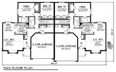 Multi-Family Plan 73479 - Ranch Style Multi-Family Plan with 2614 Sq Ft, 4 Bed, 4 Bath, 4 Car Garage Family House Plans, Best House Plans, Country House Plans, Small House Plans, The Plan, How To Plan, Plan Plan, Duplex Floor Plans, House Floor Plans