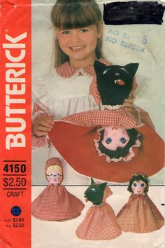 Butterick 4150 1980s  3 Faced Doll Pattern Reversible Doll Red Riding Hood Wolf Grandma Vintage Toy  Sewing Pattern for 21 Inch Doll UNCUT
