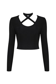 Elastic Hollow Out Long Sleeve Bandage Crop Top
