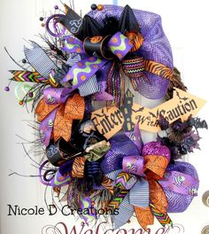 Halloween Wreath- Grapevine Wreath- Fall Wreath- Witch Wreath by NicoleDCreations on Etsy https://www.etsy.com/listing/247517923/halloween-wreath-grapevine-wreath-fall