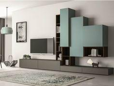 Mueble modular de pared composable lacado con soporte para tv SLIM 87 by Dall'Agnese diseño Imago Design, Massimo Rosa