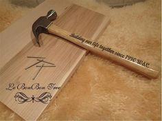 Tax free father's day promotion : Happy Father's Day, Limited Edition (only two left, they go fast ). OOAK Personalized hammer, everything custom made. Special and meaningful gift, perfect gift from kids to Dad, wife to husband.<br/><br/>2 price option: $17 for message professionally cut with outdoor vinyl and apply to the hammer (decorative purpose)<br/><br/>Option 2: Laser Engraved hammer (As shown in picture), permanent keepsake hammer that can be used daily : ) $32<br/><br/>To order use…