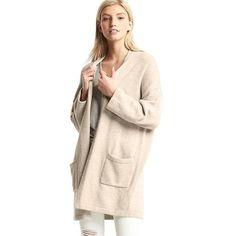 Gap Women Car Cardigan ($60) ❤ liked on Polyvore featuring tops, cardigans, oatmeal heather, regular, shawl collar cardigan, short-sleeve cardigan, knit top, open front knit cardigan and oatmeal cardigan