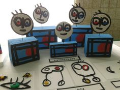 Self-portrait boxes, dishes, tempera and wax. The school Sant Pau. Classroom Art Projects, School Art Projects, Art Classroom, Mondrian, Drawing For Kids, Art For Kids, Third Grade Art, Preschool Art Activities, Art Mat
