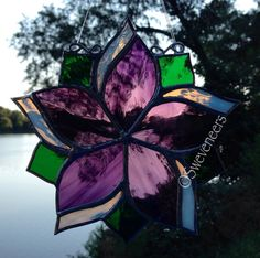 Made to Order Purple White Flower Stained Glass Sun by Sweveneers