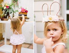 bunny crowns and naked cakes make the perfect little girls birthday party