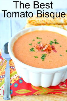 Easy Tomato Bisque Recipe Easy Tomato Bisque Recipe This is an easy tomato bisque recipe I have made over and over again and my whole family loves it. A simple homemade tomato soup that even the kids ask for. Tomato Bisque Recipe, Tomato Soup Recipes, Crockpot Tomato Soup, Tomato Recipe, Tomato Soups, Tomato Basil Bisque, Creamy Soup Recipes, Tomato Tomato, Tofu