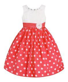 209cf6236 Take a look at this Black   White Pin Dot Bow Puff-Sleeve Dress ...