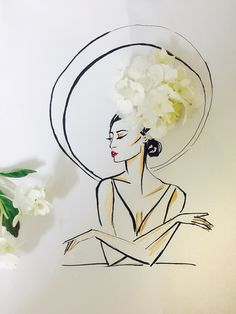 Hat illustration with fresh flowers, by Sara Japanwalla