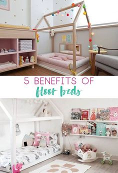 Thinking about a floor bed for your toddler? Believe in the Montessori approach to child rearing? This post has tips and images of floor beds. Baby Floor Bed, Floor Bed Frame, Toddler Floor Bed, Toddler Rooms, Kids Bed On Floor, Toddler Bedding Girl, Toddler Girl, Girl Room, Girls Bedroom