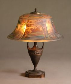 A Beautiful Pairpoint 4 Seasons Reverse Painted Lamp | eBay