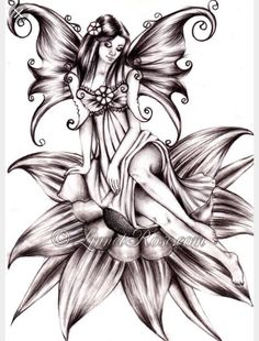 Flying fairy by on DeviantArt Fairy Tattoo Designs, Tribal Tattoo Designs, Fairy Coloring Pages, Adult Coloring Pages, Fairy Drawings, Pencil Drawings, Tattoo Drawings, Body Art Tattoos, Foot Tattoos