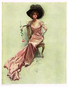 "Stunning lithograph print featuring the most beautiful women. By Harrison Fisher and published by Bobbs Merrill Company in 1908. The print is about 7 1/2"" x 9"" on a page that is 8 1/2"" x 11""."