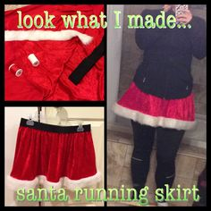 Just threw this Santa running skirt together for some holiday themed races!  Started with this tutorial and embellished from there! http://youtu.be/MRtwqdQ6UdI