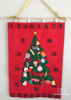 Christmas Tree advent calendar felt with Ornaments/Christmas Tree Decoration/countdown/RollUp Play Mat/Quiet Time Wall Mat/Personalized Gift by IvyHandmadeDesign on Etsy Christmas Tree Decorations, Christmas Tree Ornaments, Holiday Decor, Christmas Tree Advent Calendar, Felt Wall Hanging, Hand Stitching, Handmade Gifts, Play, Kid Craft Gifts