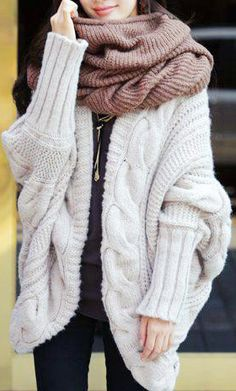chunck it up this fall and winter by going for bulky scarves and big cozy sweaters for extra warmth and style