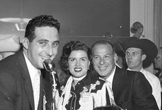 Decca Record's Marty Salkin and Paul Cohen flank singer, Patsy Cline. Deejay Convention, Andrew Jackson Hotel 1957 (Photo by Elmer Williams/Courtesy of Rich Booth)